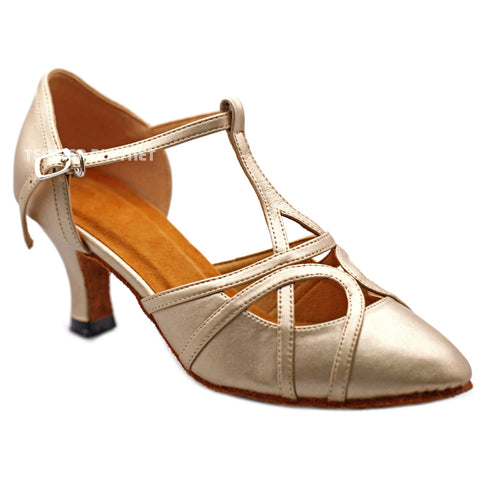 Champagne Gold Women Dance Shoes D1294 UK5/US7.5/EU38 2.5 Inches / 6.25cm