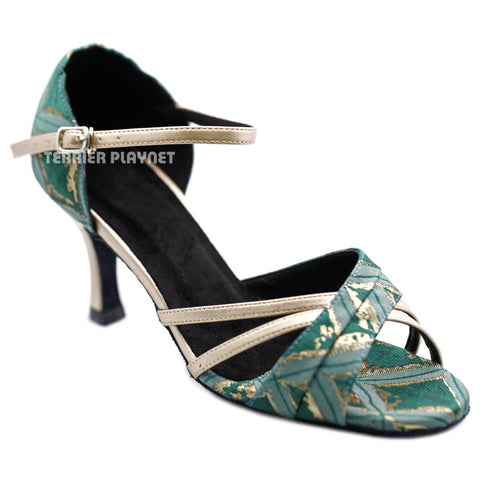 Champagne Gold & Green Embroidered Women Dance Shoes D1299 UK6.5/US9/EU40 3 Inches / 7.5cm Heel