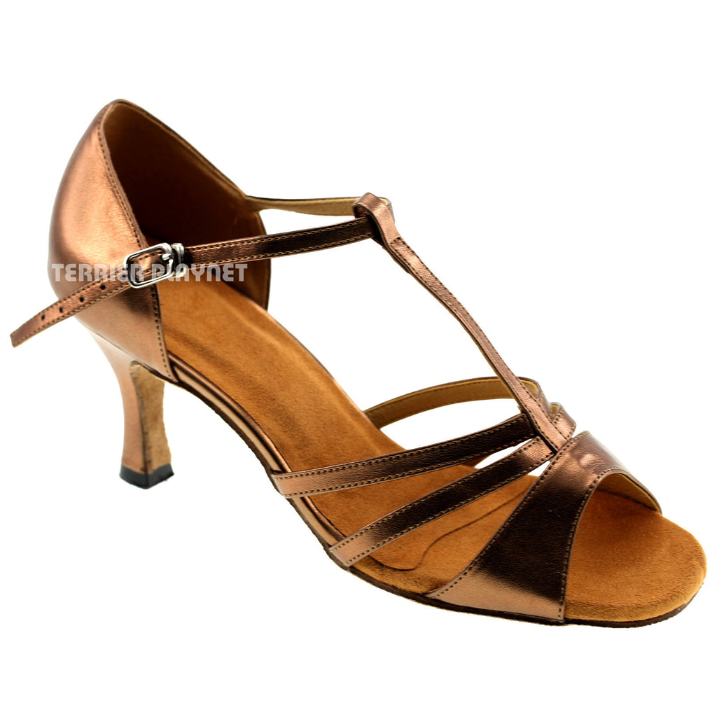 Bronze Women Dance Shoes D129 - Terrier Playnet Shop