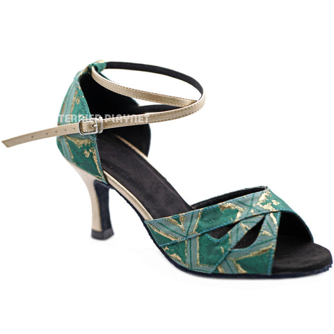 Champagne Gold & Green Embroidered Women Dance Shoes D1300 UK6/US8.5/EU39.5 3 Inches/7.5cm Heel