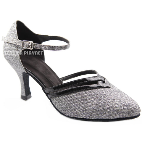 Black & Silver Women Dance Shoes D1301