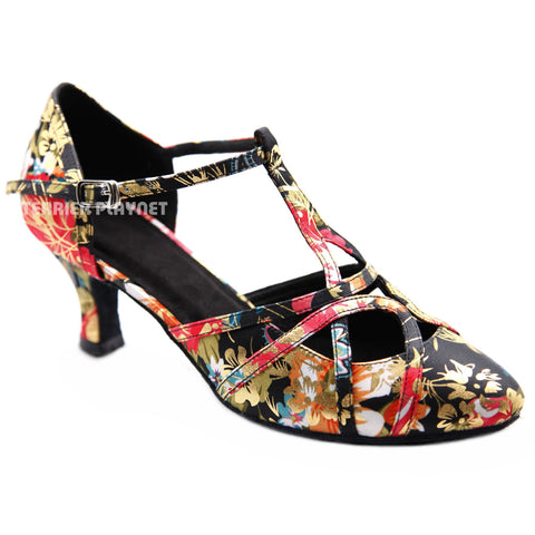 Black & Multi-Colour Flower Pattern Women Dance Shoes D1302 UK6/US8.5/EU39.5 2.5 Inches / 6.25cm Heel