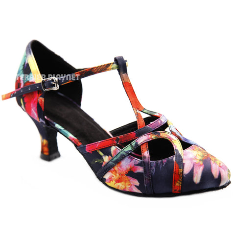 Multi-Colour Flower Pattern Women Dance Shoes D1304 UK6/US8.5/EU39.5 2.5 Inches / 6.25cm Heel