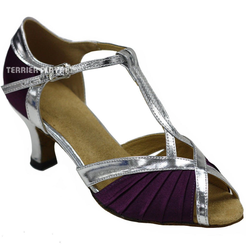 Silver & Purple Women Dance Shoes D132 - Terrier Playnet Shop