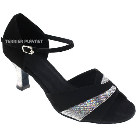 Black & Silver Women Dance Shoes D140