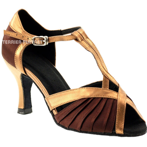 Brown & Bronze Women Dance Shoes D149