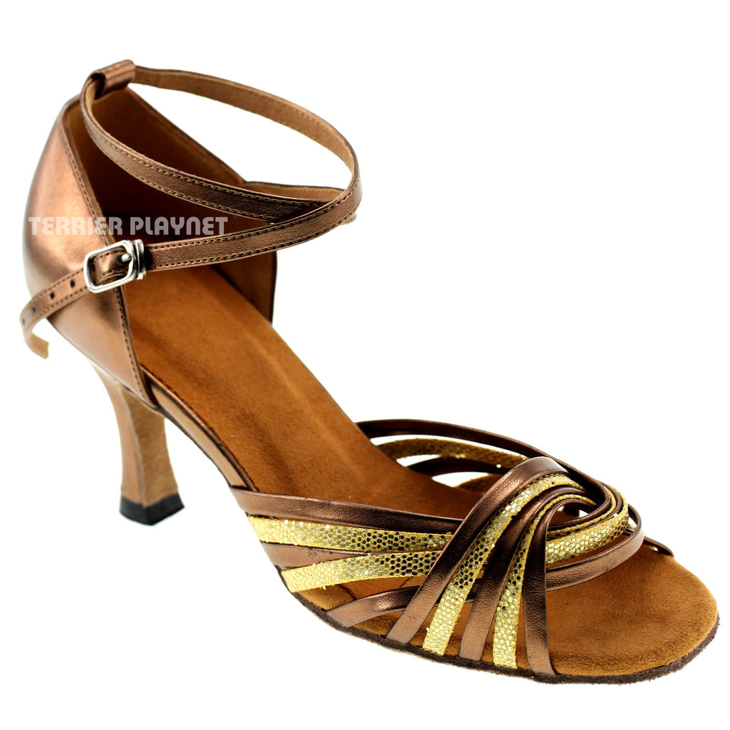 Bronze & Gold Women Dance Shoes D156 - Terrier Playnet Shop