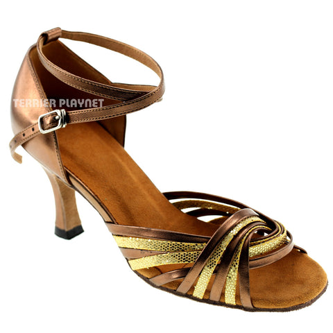 Bronze & Gold Women Dance Shoes D156