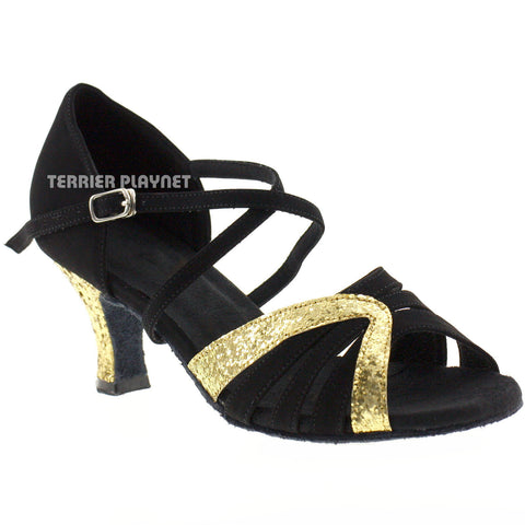 Black & Gold Women Dance Shoes D169 UK5.5/US8/EU39 2 Inches/5cm Heel