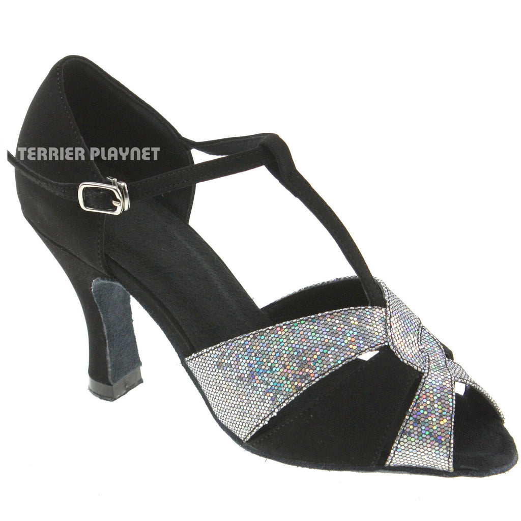 Black & Silver Women Dance Shoes D186 - Terrier Playnet Shop