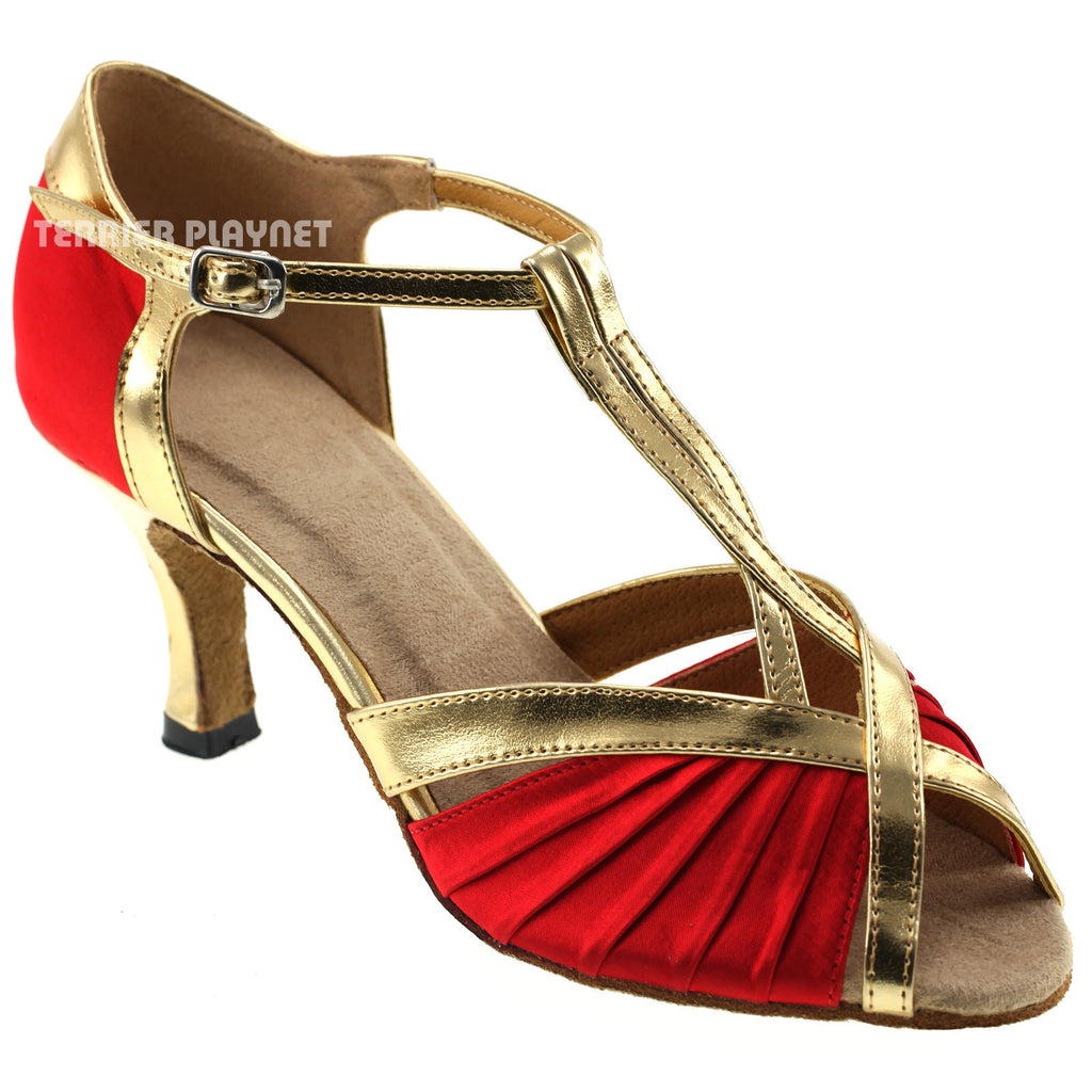 Red & Gold Women Dance Shoes D187