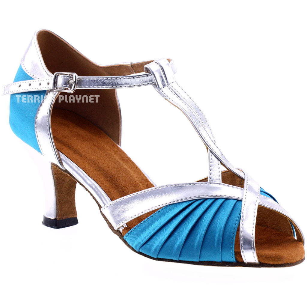 Light Blue & Silver Women Dance Shoes D188