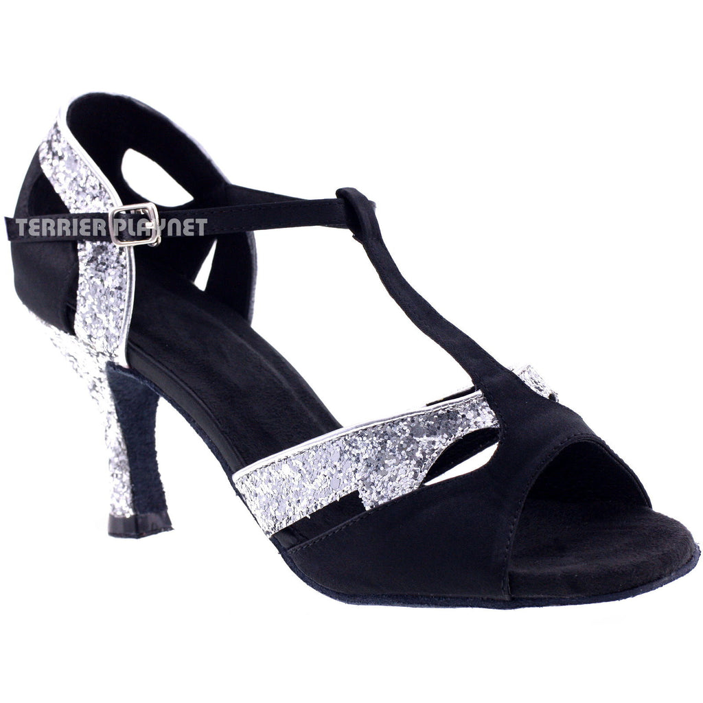 Black & Silver Women Dance Shoes D199 UK2/US4.5/EU37.5 2.5 Inches/6.25cm Heel - Terrier Playnet Shop