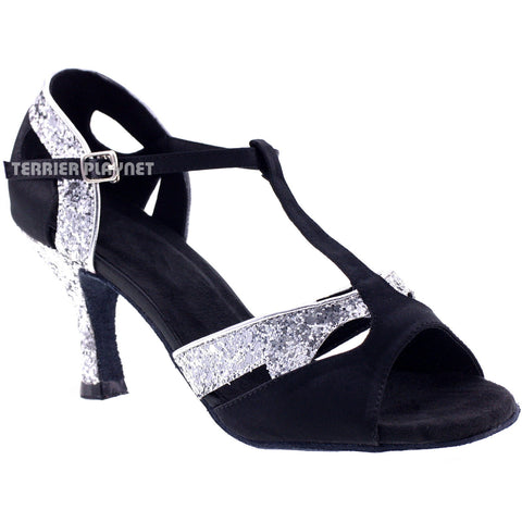 Black & Silver Women Dance Shoes D199 UK4.5/US7/EU37.5 3 Inches/7.5cm Heel