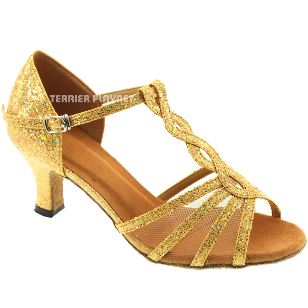 Gold Women Dance Shoes D1 - Terrier Playnet Shop