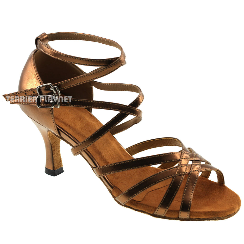 Bronze Women Dance Shoes D210 - Terrier Playnet Shop