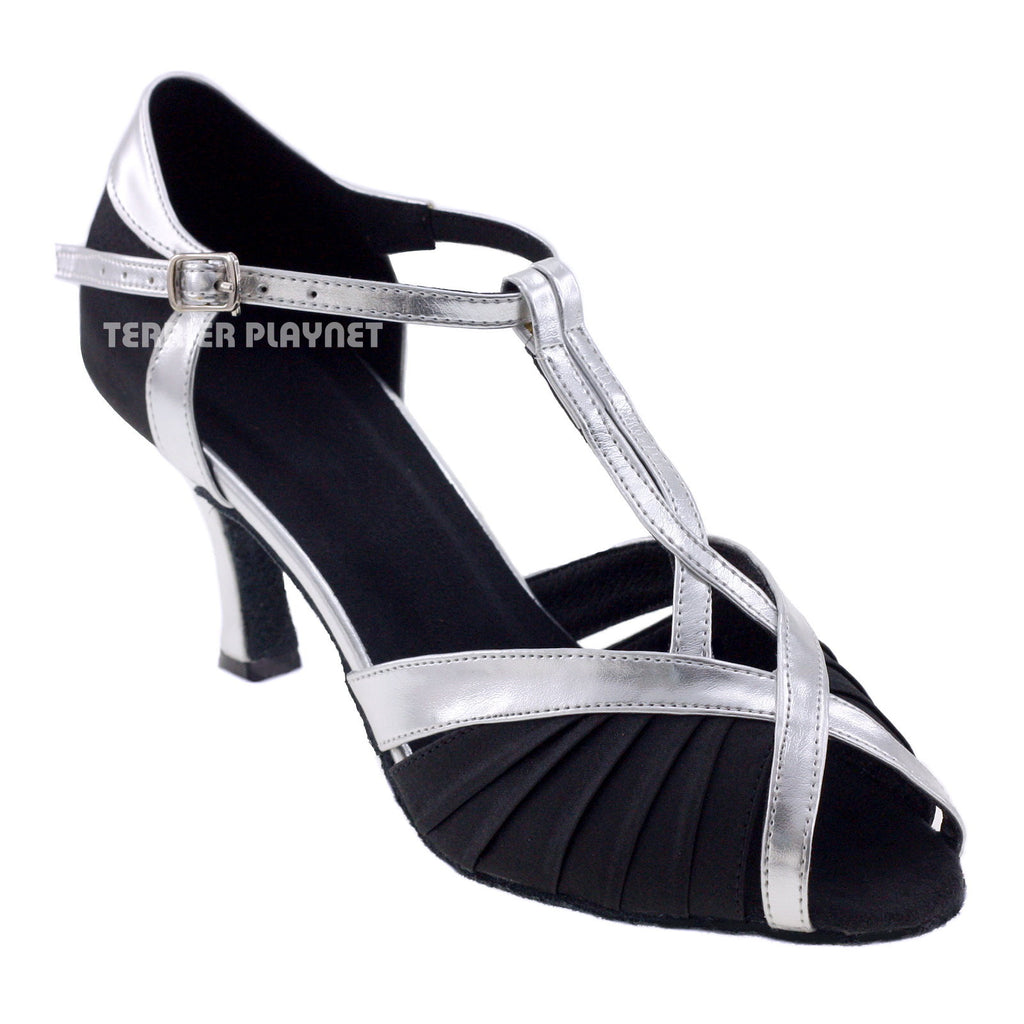 Black & Silver Women Dance Shoes D211 - Terrier Playnet Shop