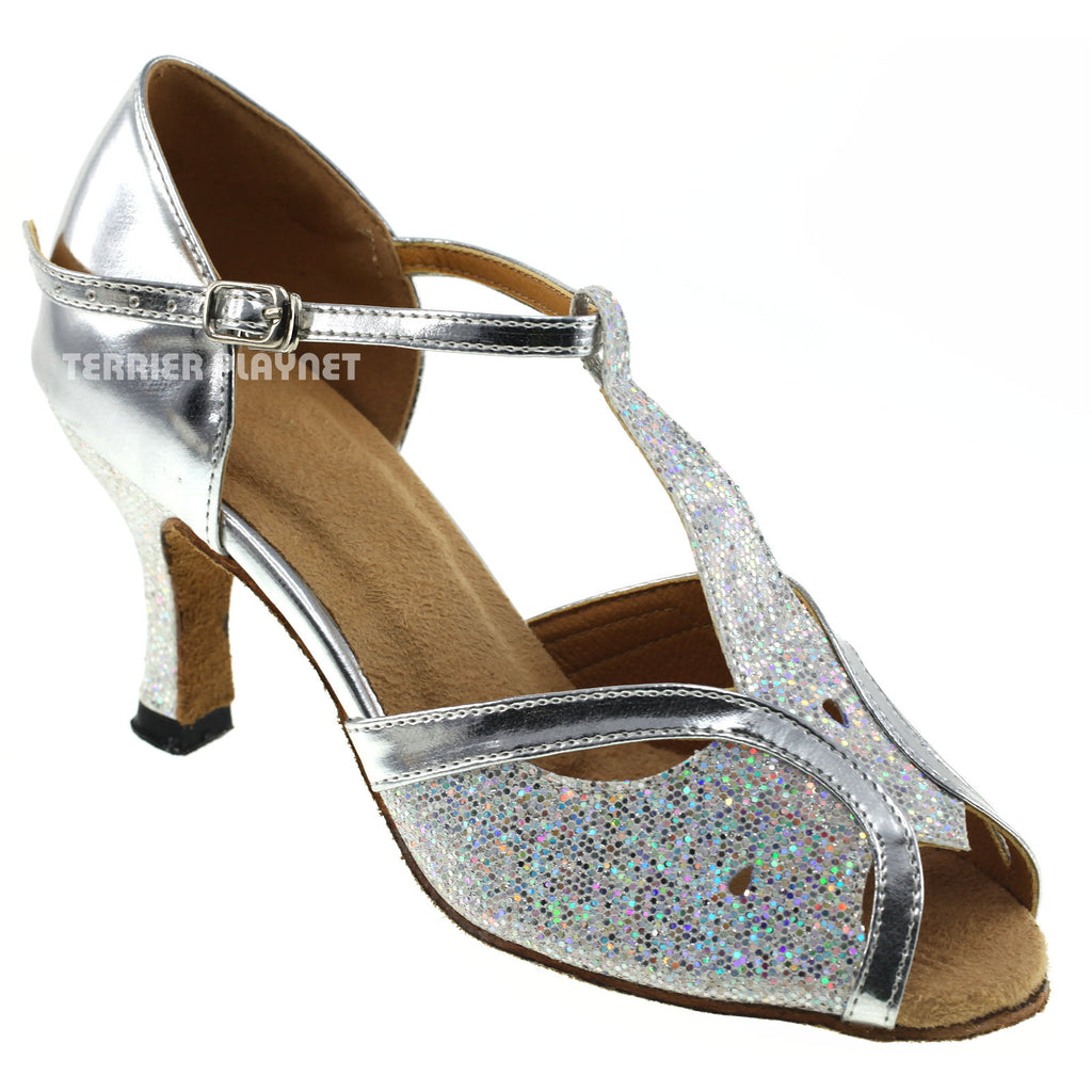 Silver Women Dance Shoes D229 - Terrier Playnet Shop