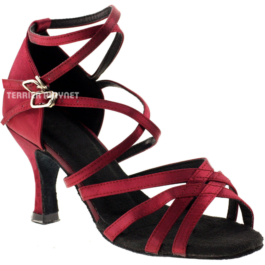 Wine Red Women Dance Shoes D238 - Terrier Playnet Shop