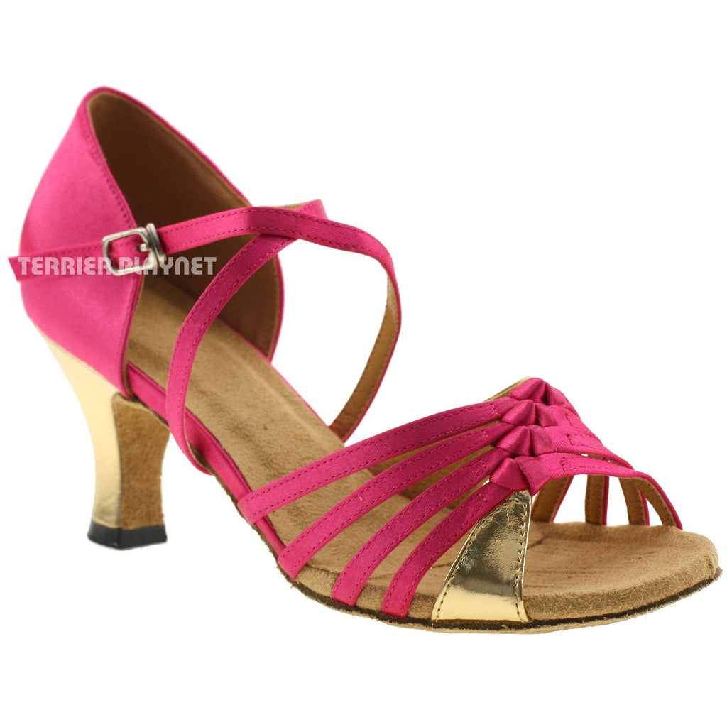 Hot Pink & Gold Women Dance Shoes D245