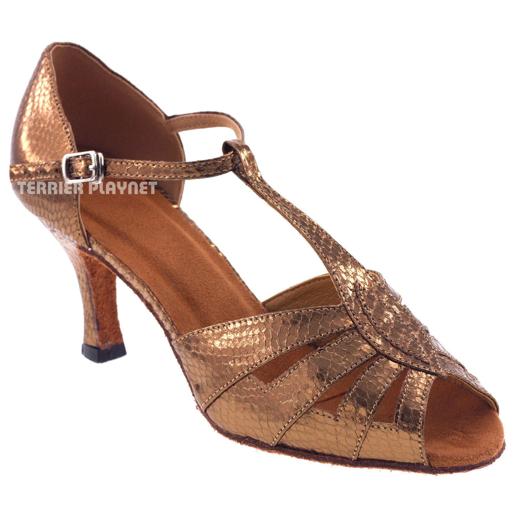 Bronze Women Dance Shoes D24 - Terrier Playnet Shop