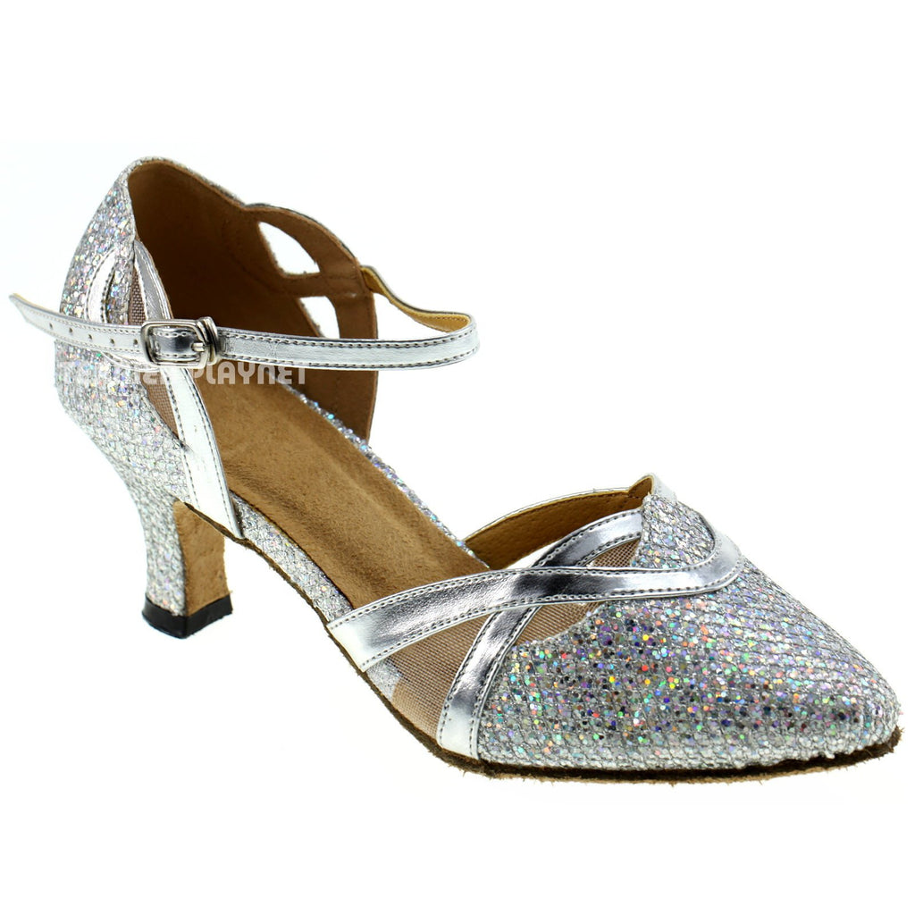Silver Women Dance Shoes D251 UK6/US8.5/EU39.5 2.5 Inches/6.25cm Heel
