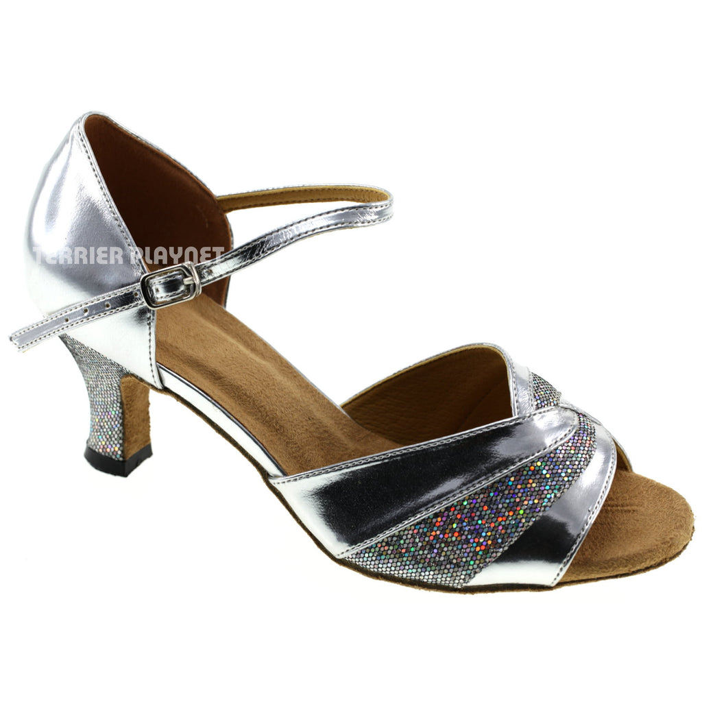 Silver Women Dance Shoes D256