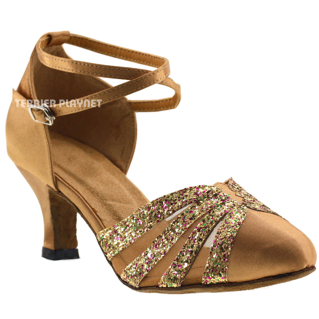 Gold Women Dance Shoes D257 - Terrier Playnet Shop
