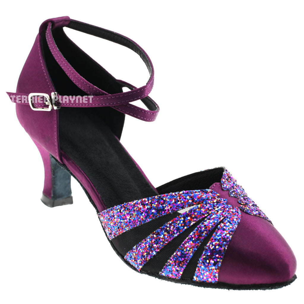 Purple Women Dance Shoes D258 UK8.5/US11/EU42 2.5 Inches/6.25cm Heel - Terrier Playnet Shop