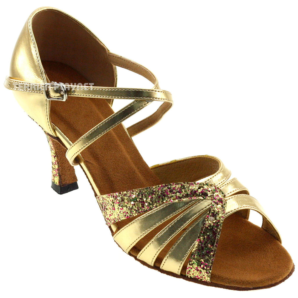 Gold Women Dance Shoes D25 - Terrier Playnet Shop
