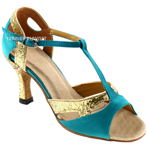 Turquoise & Gold Women Dance Shoes D279