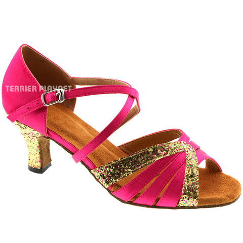 Hot Pink & Gold Women Dance Shoes D293
