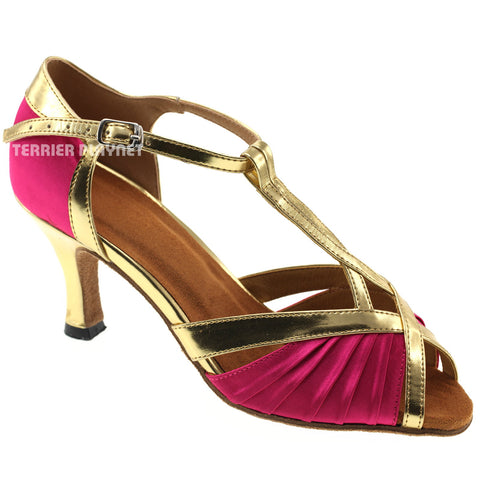 Hot Pink & Gold Women Dance Shoes D294