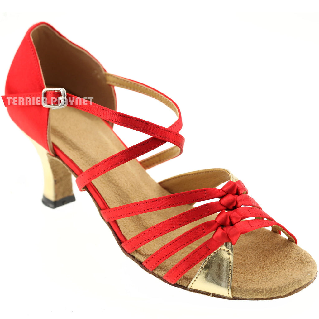 Red & Gold Women Dance Shoes D298