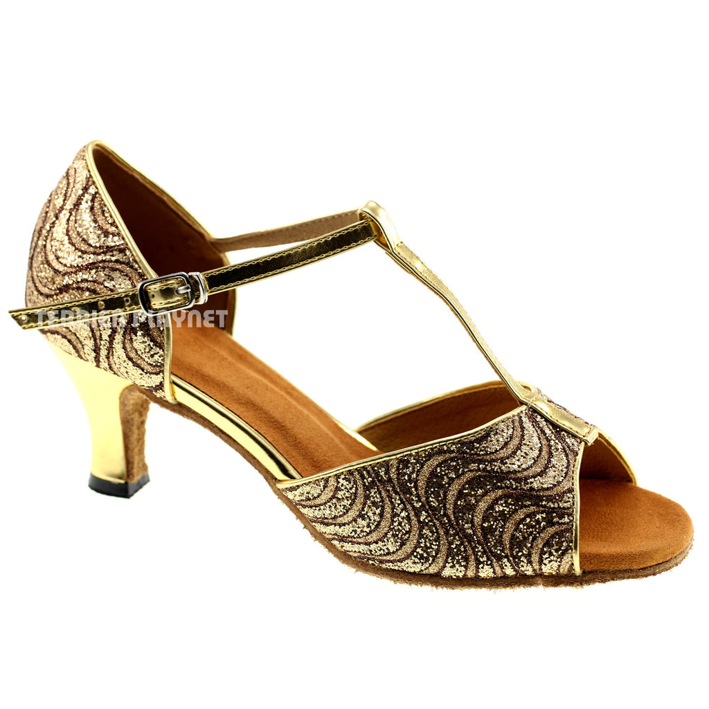 Gold Women Dance Shoes D300
