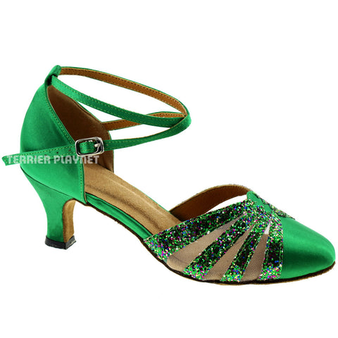 Green Women Dance Shoes D307 UK4/US6.5/EU37 2.5 Inches / 6.25cm Heel
