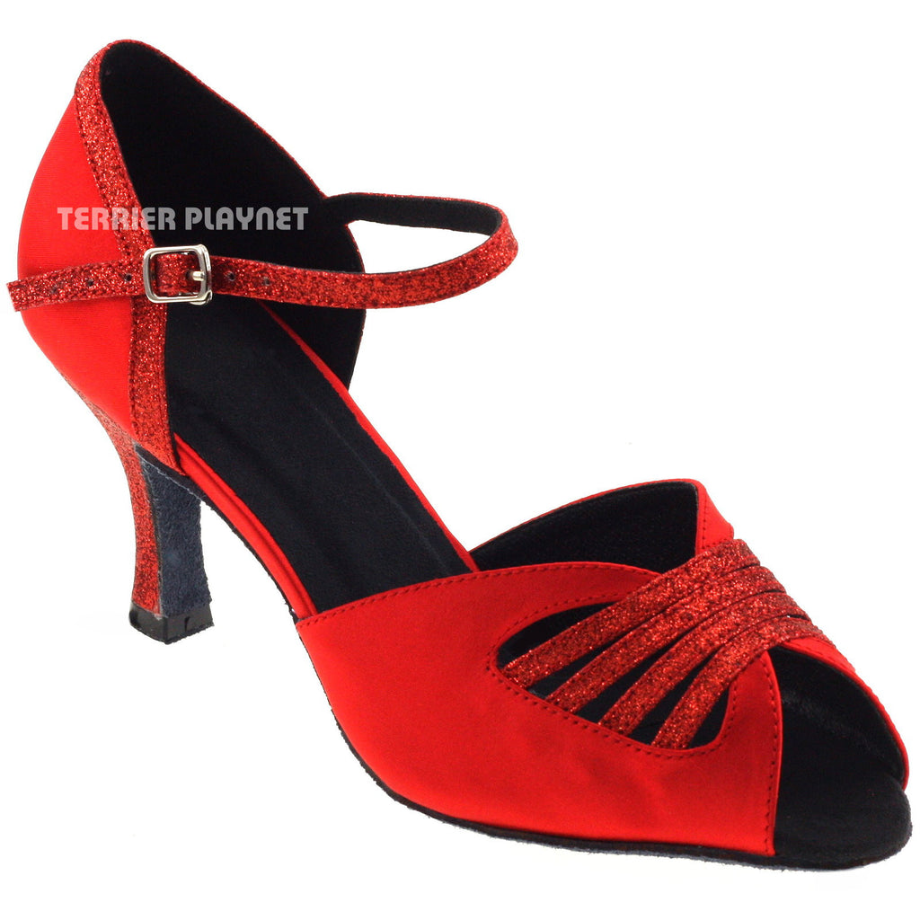 Red Women Dance Shoes D315 - Terrier Playnet Shop
