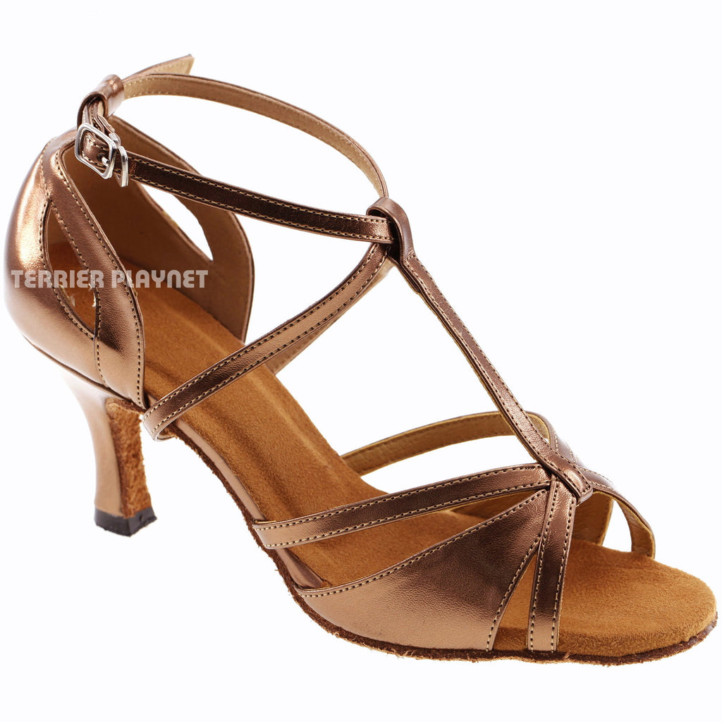 Bronze Women Dance Shoes D316 - Terrier Playnet Shop