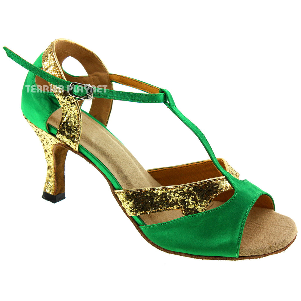 Green & Gold Women Dance Shoes D330