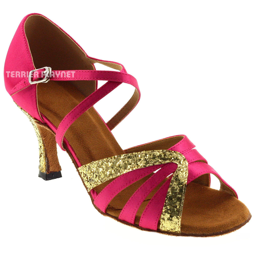 Hot Pink & Gold Women Dance Shoes D342 - Terrier Playnet Shop