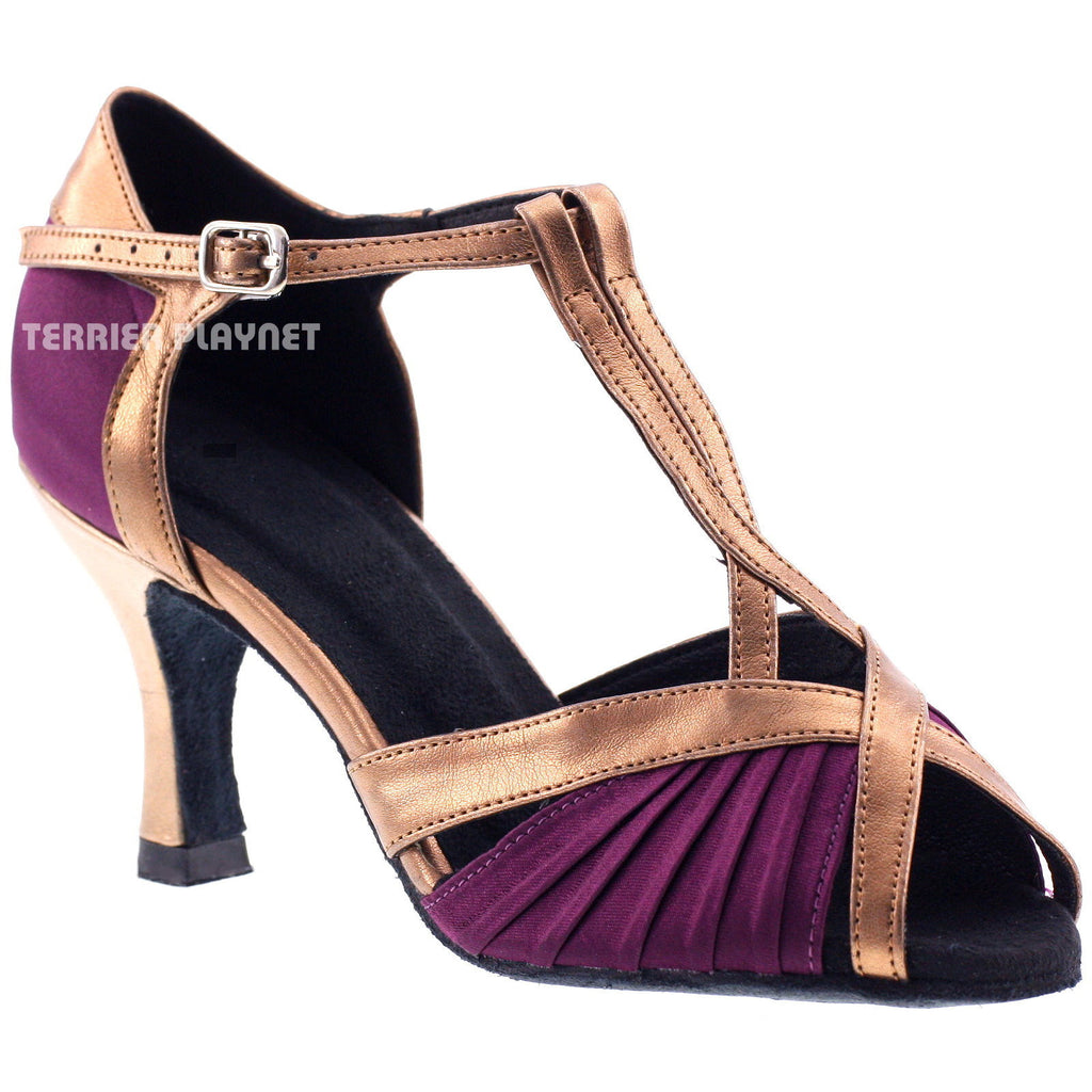 Purple & Bronze Women Dance Shoes D348 - Terrier Playnet Shop