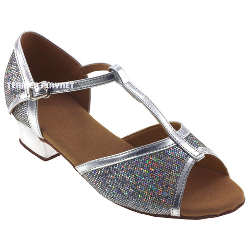 Silver Children Dance Shoes D382C