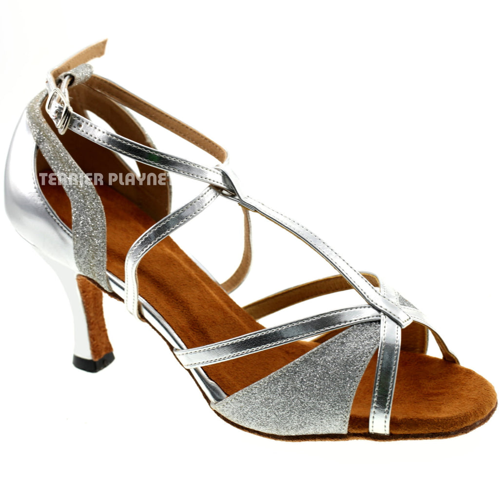 Silver Women Dance Shoes D390