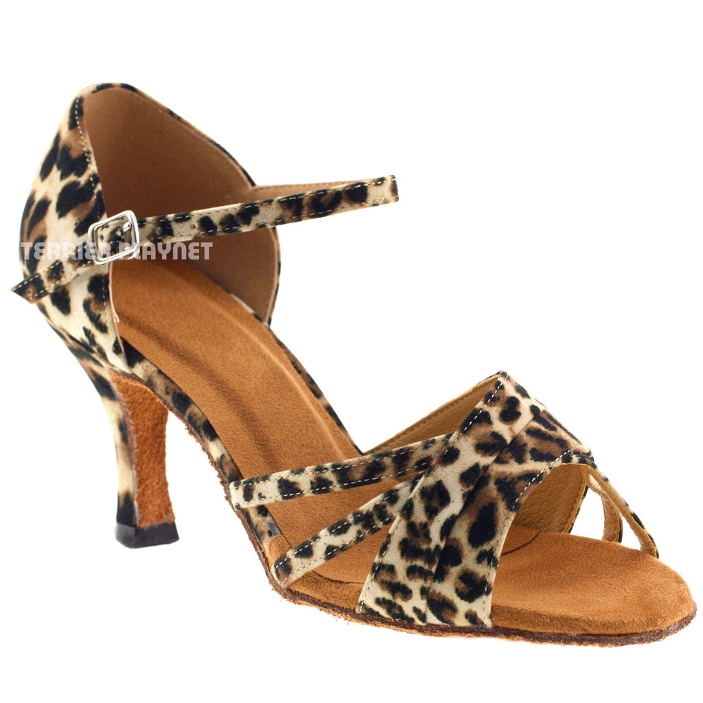 Leopard Women Dance Shoes D400 UK4/US6.5/EU37 3 Inches / 7.5cm Heel
