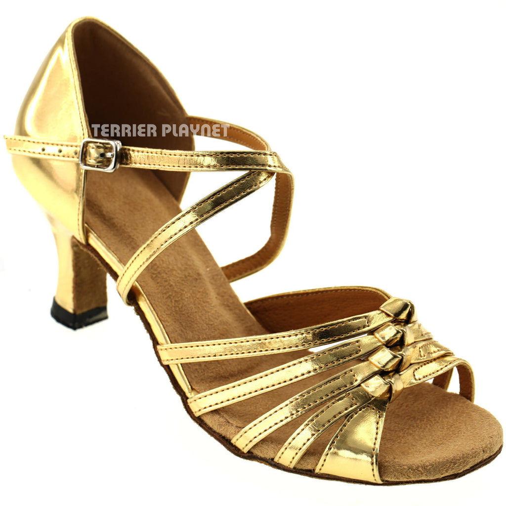 Gold Women Dance Shoes D406 - Terrier Playnet Shop