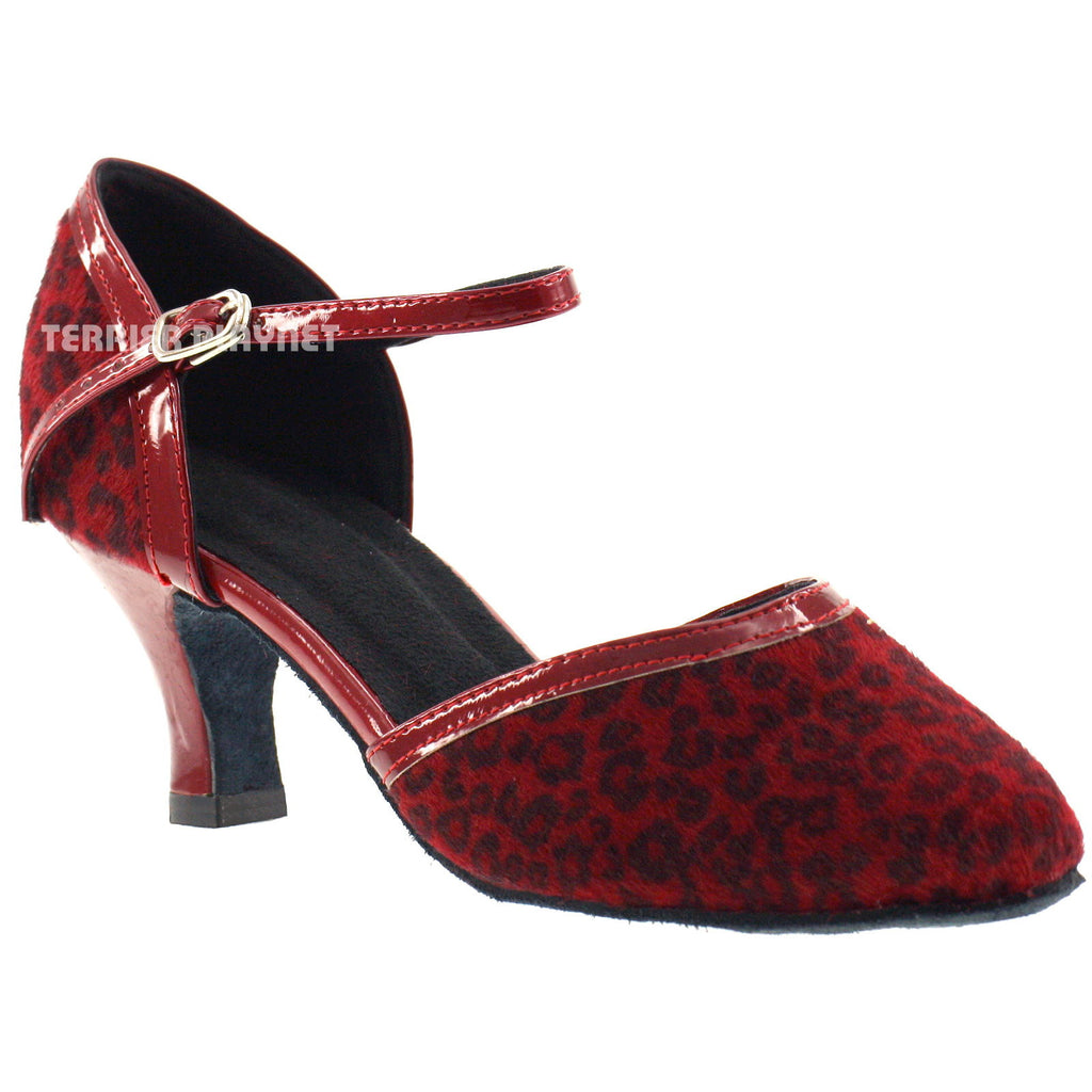 Red & Leopard Women Dance Shoes D442