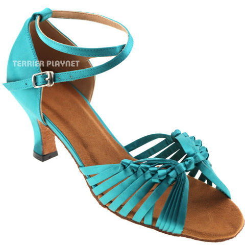 Turquoise Women Dance Shoes D449 UK3/US5.5/EU35.5 1.5 Inches/3.75cm Heel