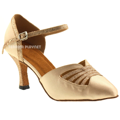 Cream & Gold Women Dance Shoes D475
