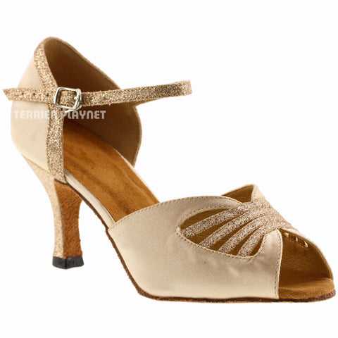 Cream Women Dance Shoes D478 UK6/US8.5/EU39.5 2.5 Inches / 6.25cm Heel
