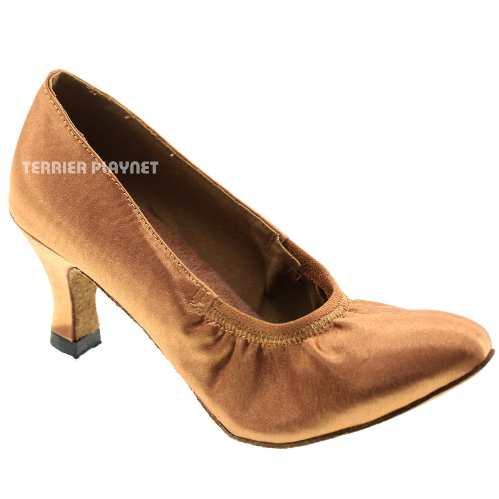Tan Women Dance Shoes D508 - Terrier Playnet Shop
